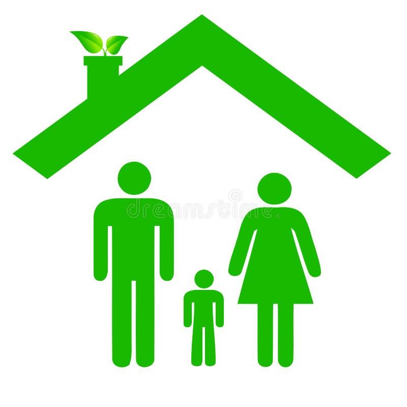 Rodzina w ecologic domu zdjęcie stock