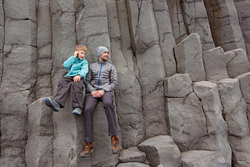 Rodzina w Iceland obrazy royalty free