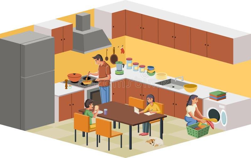 Rodzina w kuchni ilustracji