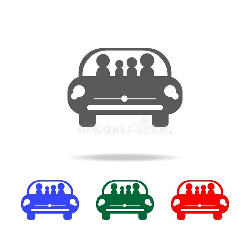 rodzina w samochodowej podróżnej ikonie Elementy rodzinne wielo- barwione ikony Premii ilości graficznego projekta ikona ilustracja wektor