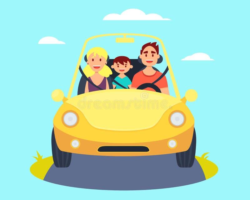 Rodzina w samochodzie ilustracji