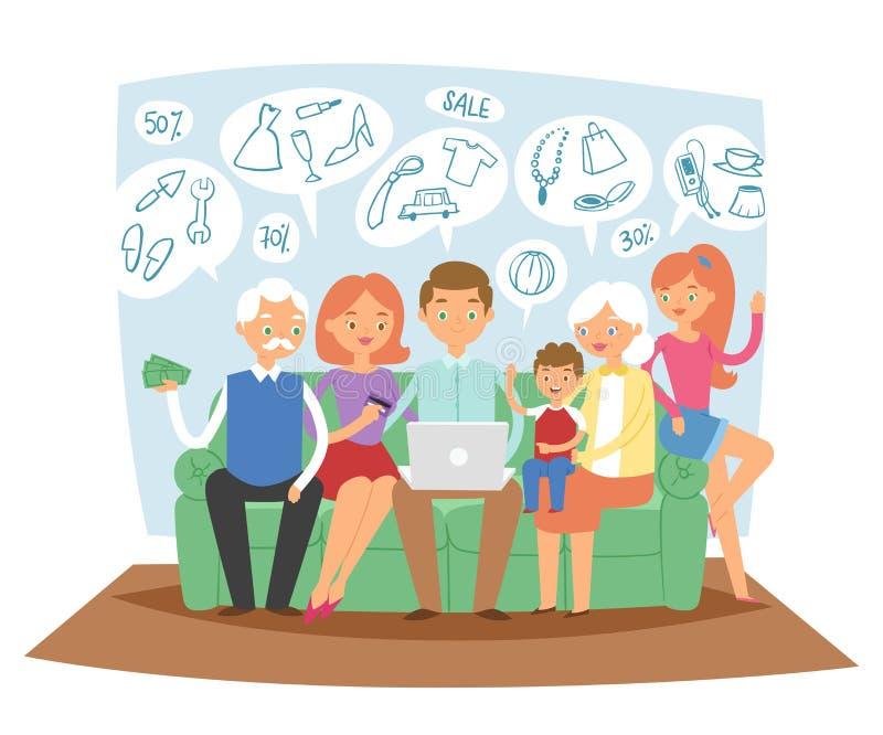 Rodzina wpólnie marzy online zakupy sprzedaży towarowego obsiadanie na kanapie używać laptop marzy o nowym domowym wektorze ilustracja wektor