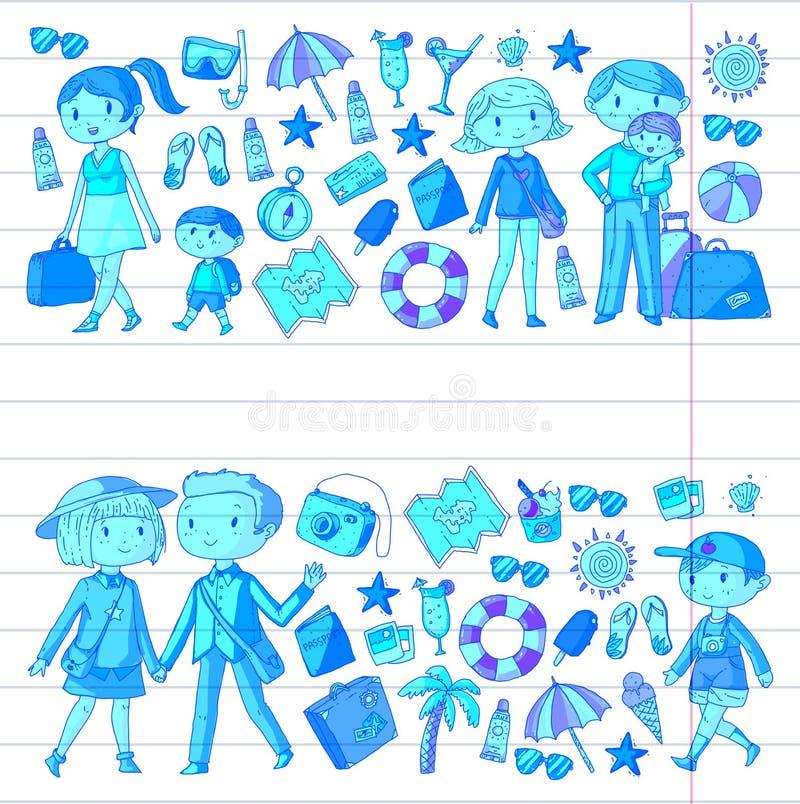 Rodzina z dziećmi podróżuje matki, ojciec, siostra, brat sztuki chłopiec klamerki dziewczyny Dzieciniec, preschool dzieci szkoła ilustracja wektor