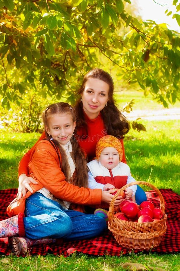 Rodzina z dziećmi w parku w jesieni fotografia royalty free