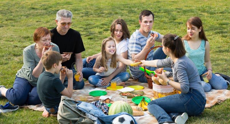 Rodzina z dzieciakami opowiada pizzę w parku i je obrazy royalty free