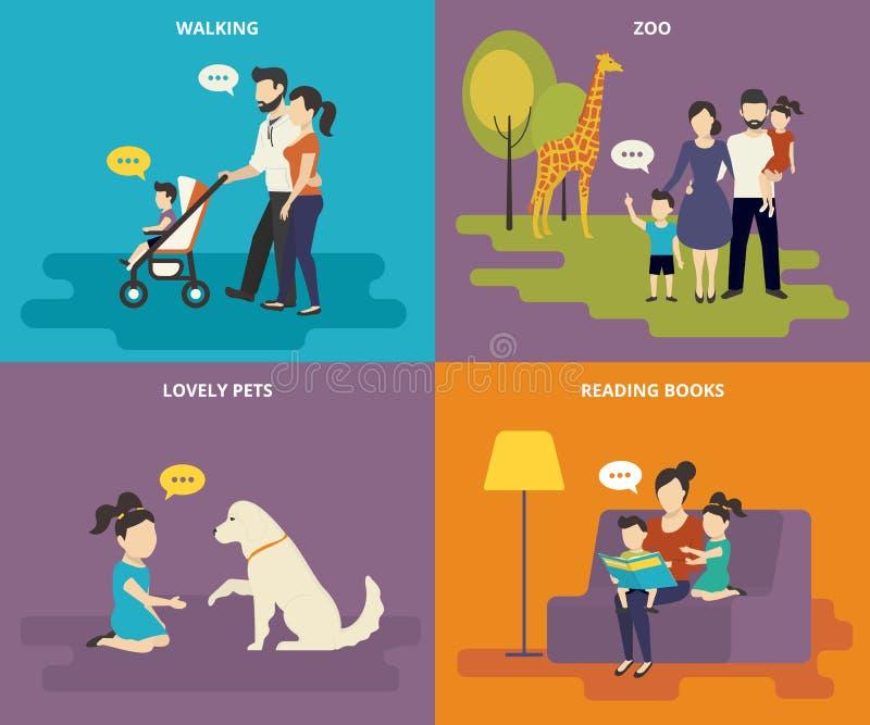 Rodzina z dziecka pojęcia płaskimi ikonami ustawiać royalty ilustracja