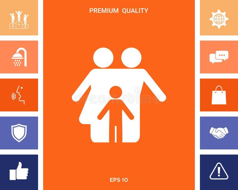 Rodzina z dzieckiem - ikona ilustracji