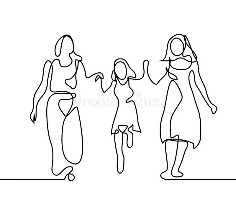 Rodzina z matki, babci i dziewczyny odprowadzeniem, ilustracja wektor