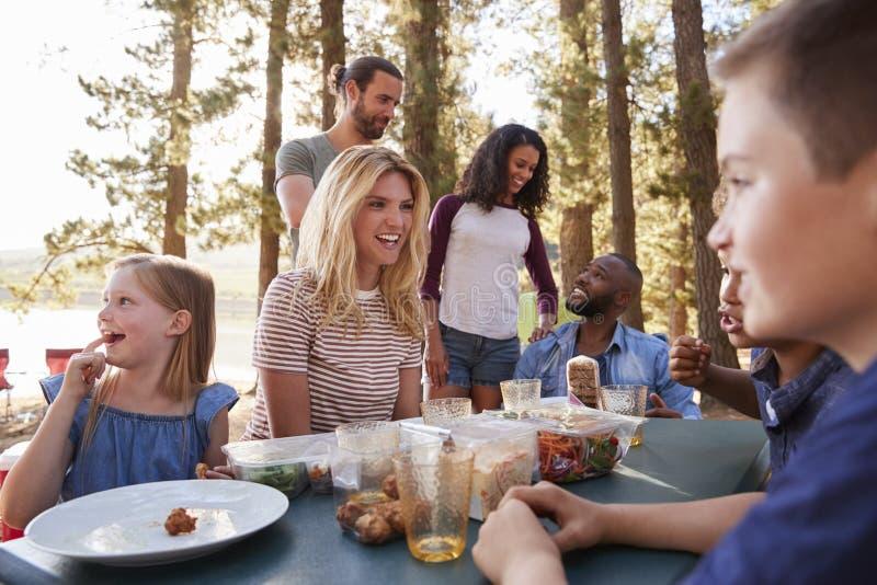 Rodzina Z przyjaciela obozem jeziorem Na Wycieczkować przygodę W lesie fotografia royalty free