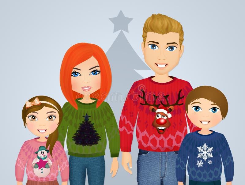 Rodzina z wełna pulowerami dla bożych narodzeń ilustracja wektor