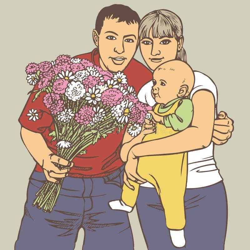 Rodzina z wiązką kwiaty royalty ilustracja