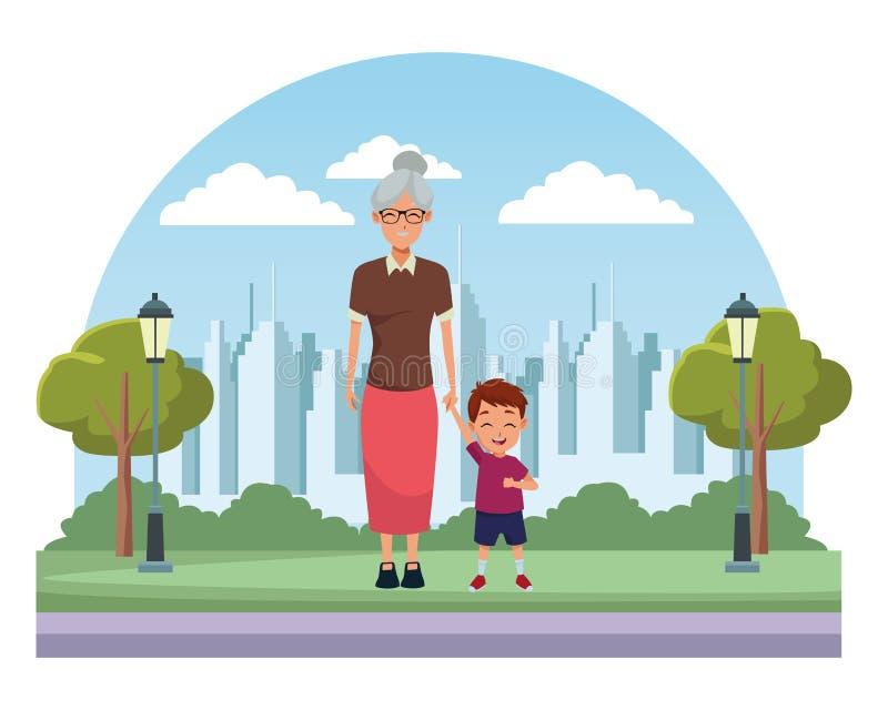 Rodzinna babcia z wnuk kreskówką royalty ilustracja