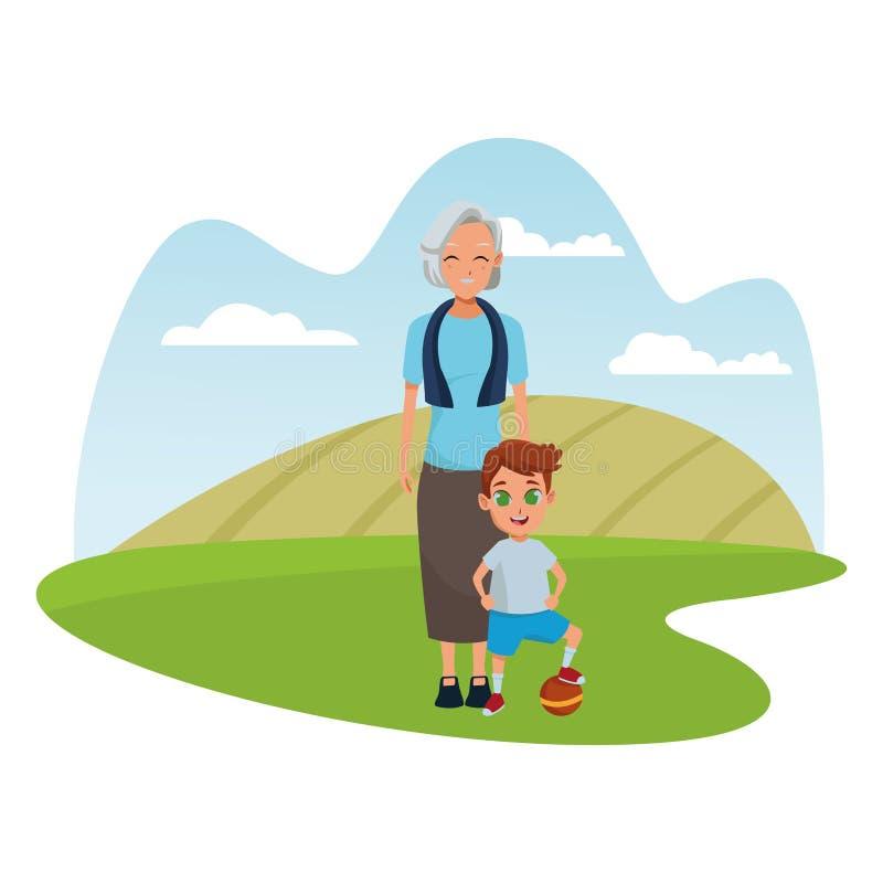 Rodzinna babcia z wnuk kreskówką ilustracji