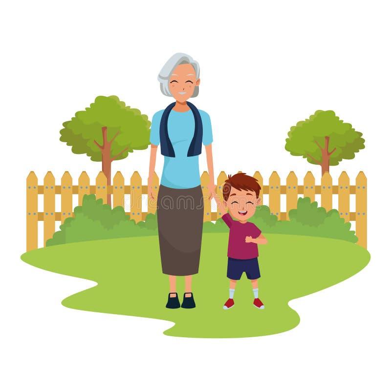 Rodzinna babcia z wnuk kreskówką ilustracja wektor