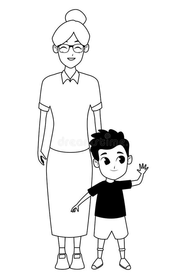 Rodzinna babcia z wnuk kreskówką w czarny i biały royalty ilustracja