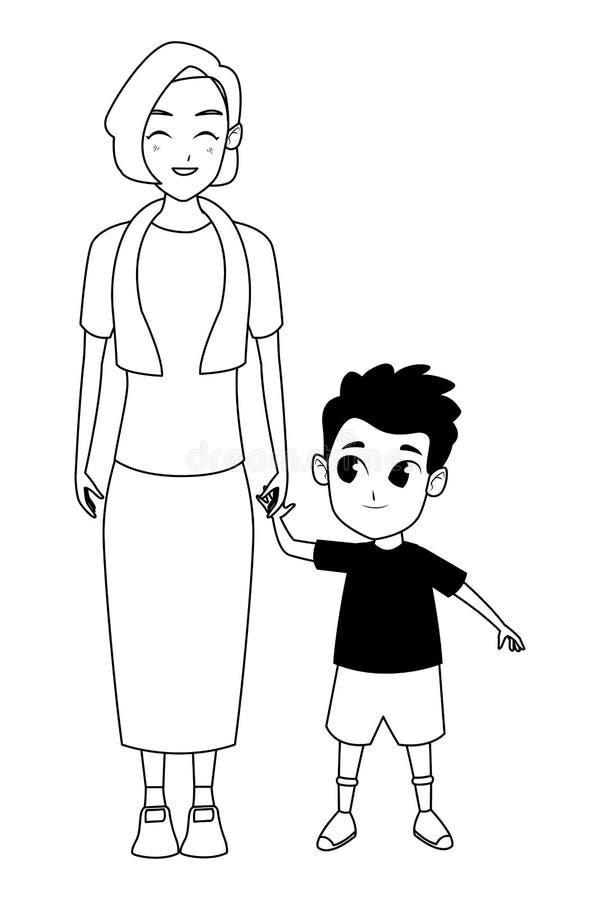 Rodzinna babcia z wnuk kreskówką w czarny i biały ilustracja wektor