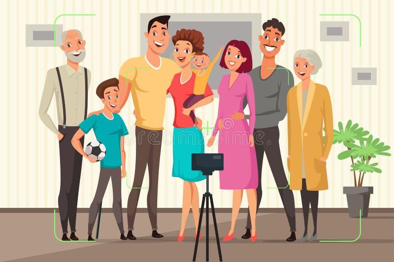 Rodzinna bierze grupowa fotografia wektoru ilustracja ilustracji