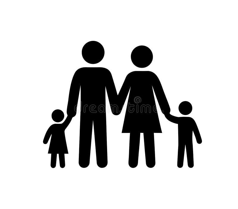 Rodzinna Czarna sylwetki ikony wektoru ilustracja ilustracji