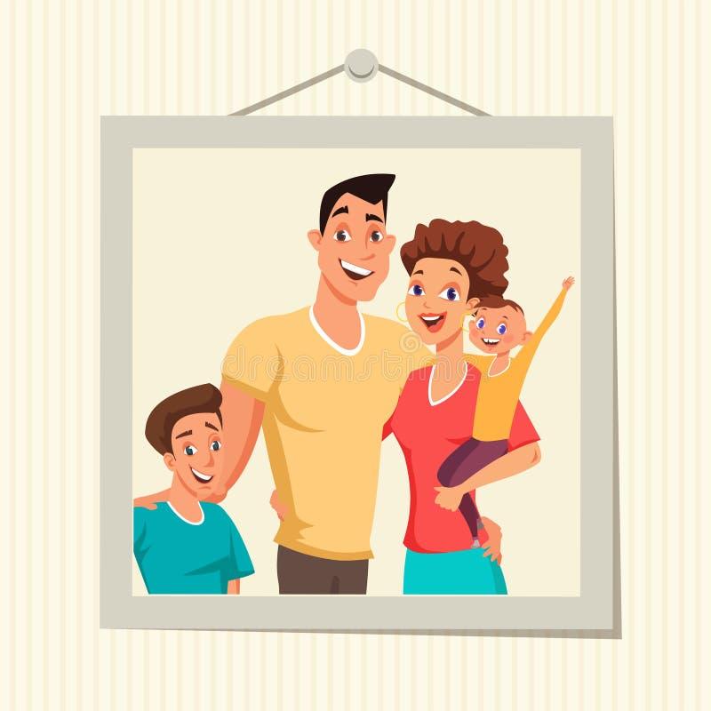 Rodzinna fotografia w ramowej płaskiej wektorowej ilustracji royalty ilustracja