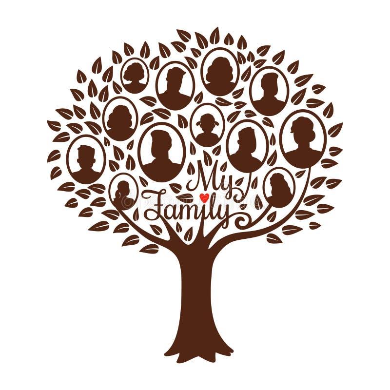 rodzinna genealogiczna zielona ilustracja odizolowywał wektorowego drzewo biel ilustracja wektor