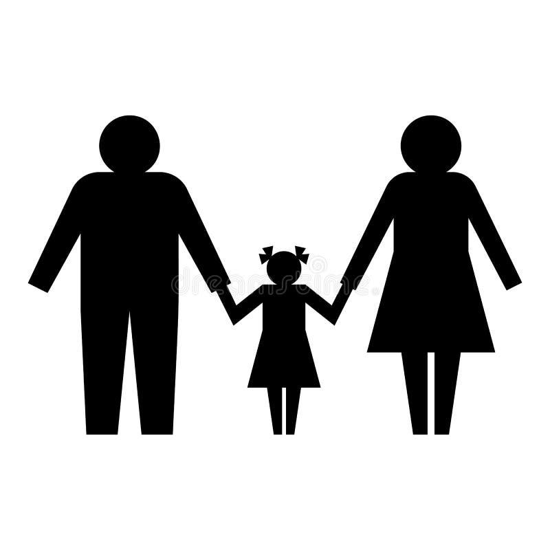 Rodzinna ikona czarna sylwetka ilustracja wektor