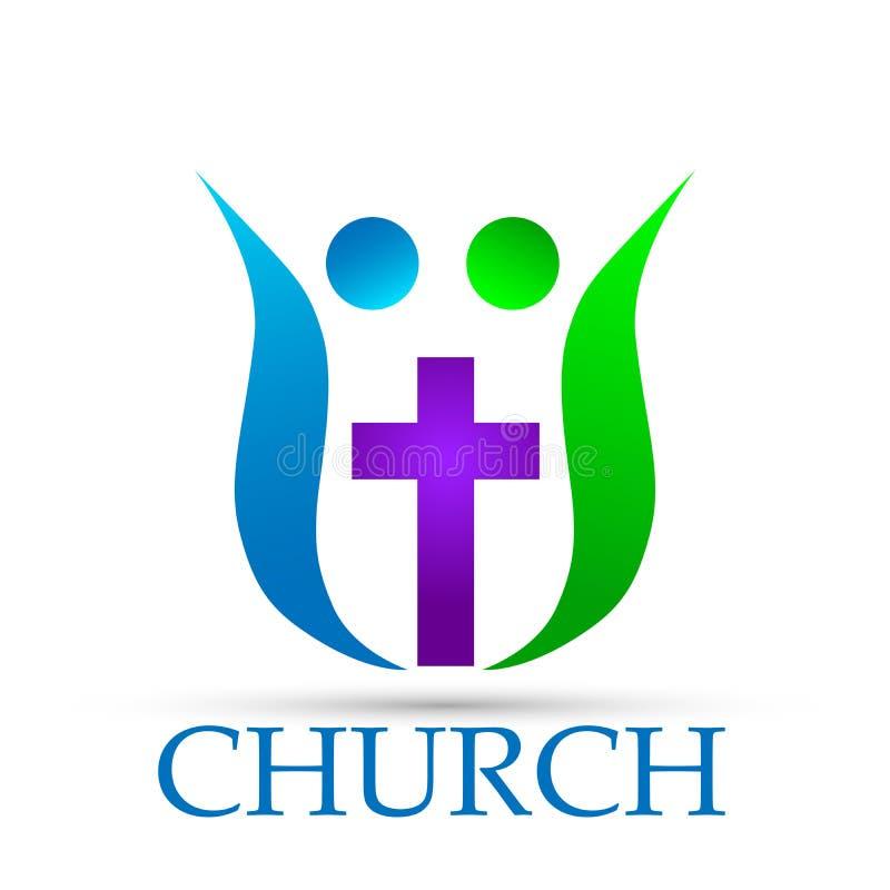 Rodzinna kościelna logo ikona na białym tle royalty ilustracja