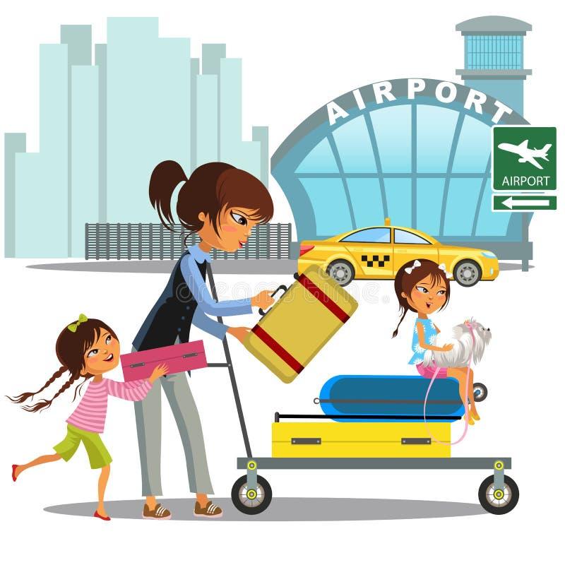 Rodzinna kobieta z dziewczynami w taxi czekania przeniesieniu lotnisko Mama z dwa dziećmi niesie tramwaj z bagażem na mieście royalty ilustracja