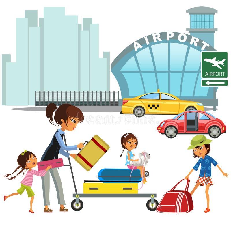 Rodzinna kobieta z dziewczynami w taxi czekania przeniesieniu lotnisko Mama z trzy dziećmi niesie tramwaj z bagażem dalej ilustracji