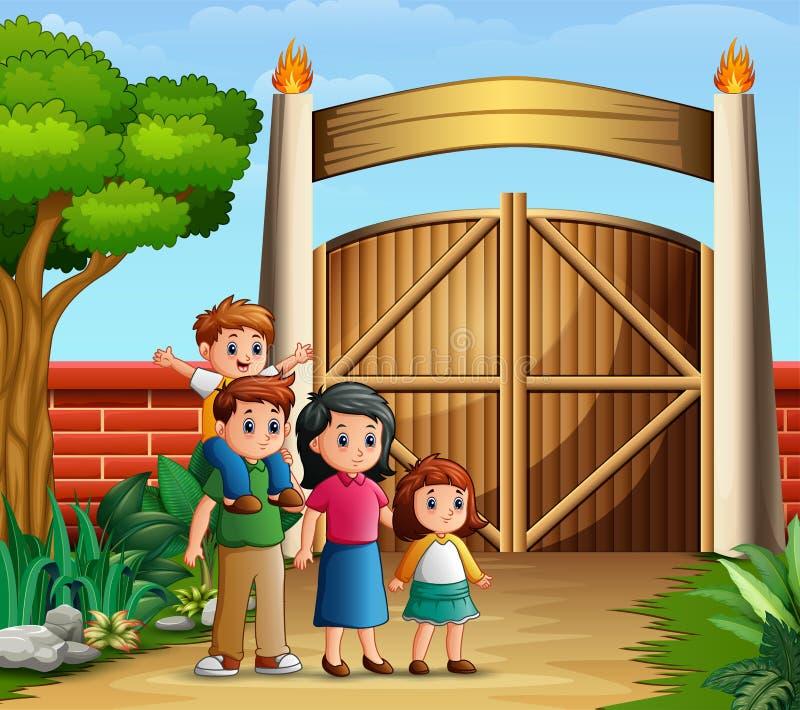 Rodzinna kreskówka w wejściowych bramach royalty ilustracja