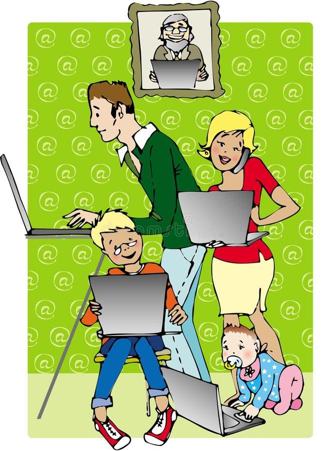 rodzinna linia ilustracji