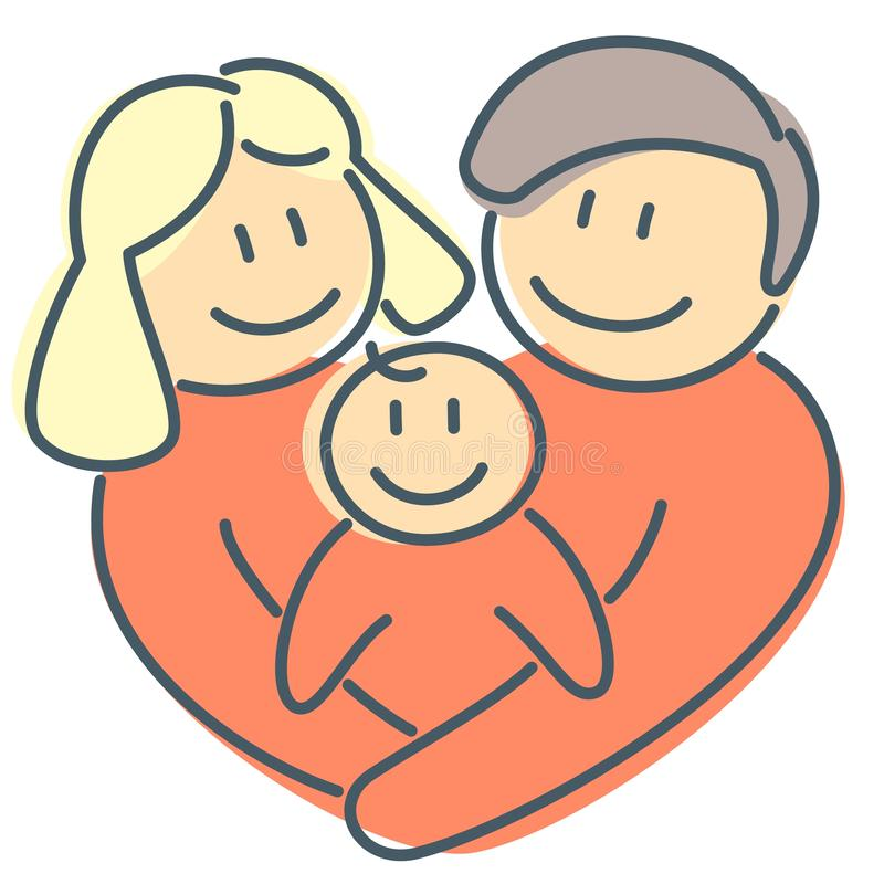 Rodzinna miłość nowonarodzony dzieciak i kierowy kształt jak znaka miłość ilustracja wektor