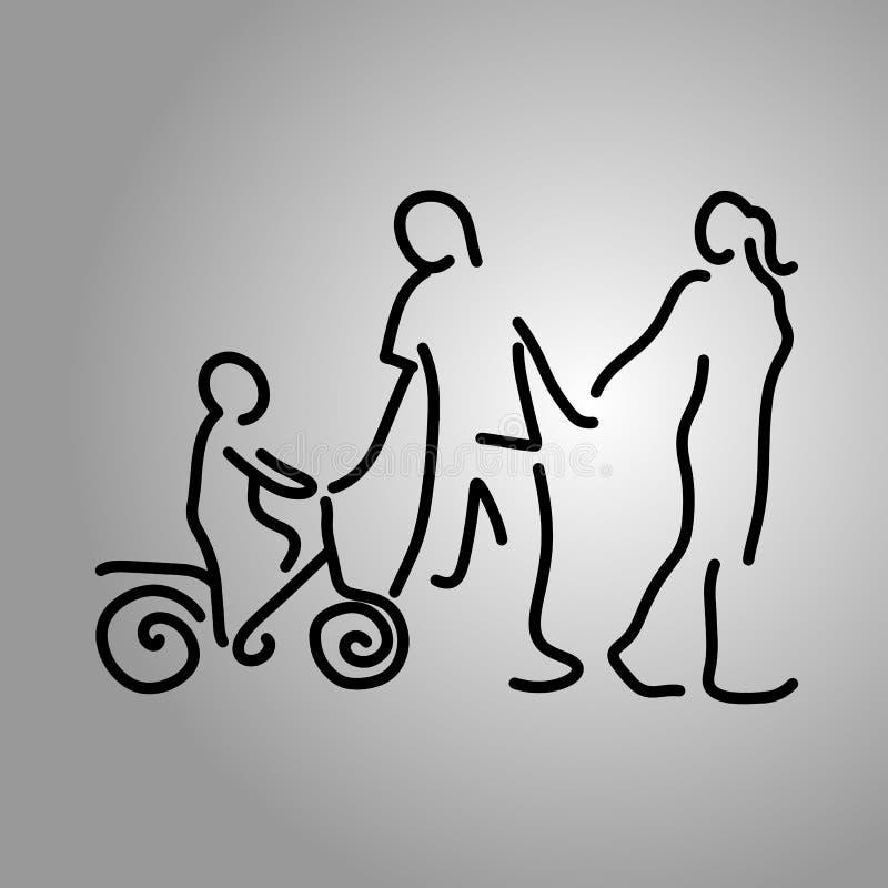 Rodzinna mienie ręka z chłopiec na rowerowej wektorowej ilustraci royalty ilustracja