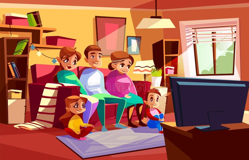 Rodzinna ogląda TV kreskówki wektorowa ilustracja ilustracji