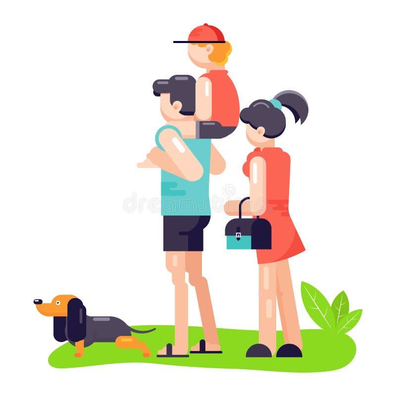 Rodzinna ojca, matki i syna sztuka z ilustracją, Rodzinna bawić się psina royalty ilustracja