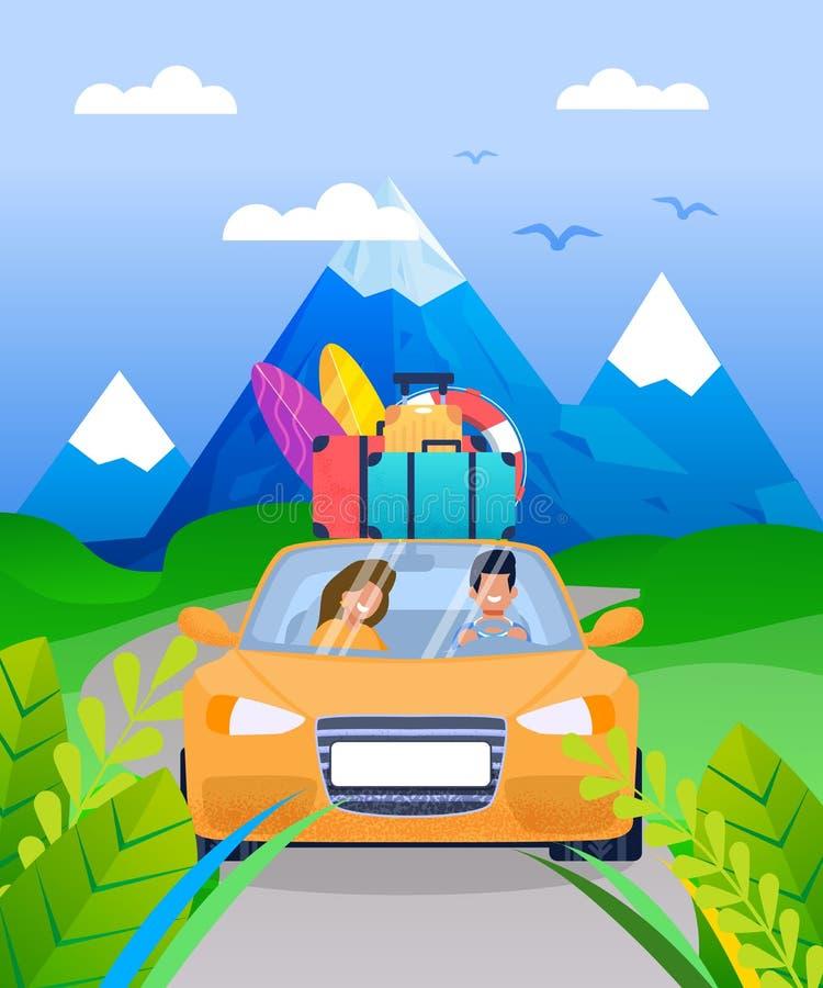 Rodzinna para na Urlopowej Samochodowej wycieczki samochodowej kreskówce ilustracji