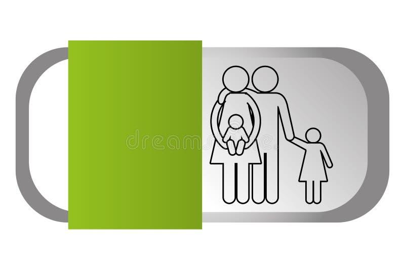 Rodzinna piktogram kreskówka ilustracja wektor