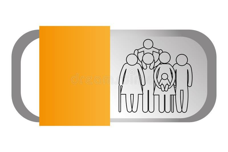 Rodzinna piktogram kreskówka royalty ilustracja