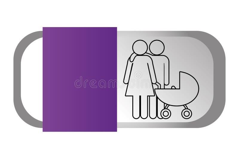Rodzinna piktogram kreskówka ilustracji
