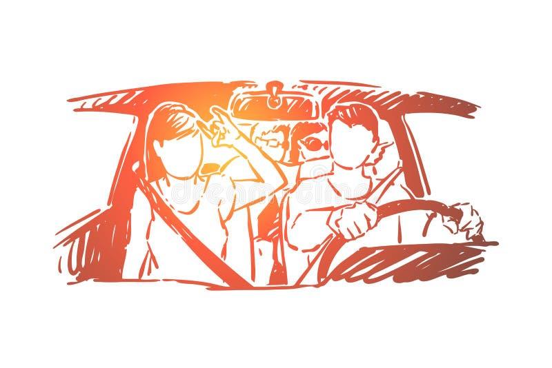 Rodzinna podróż, przyjaciele grupuje iść na wycieczce samochodowej, przygoda, młodzi człowiecy i kobiety jadą w samochodzie, podr ilustracji