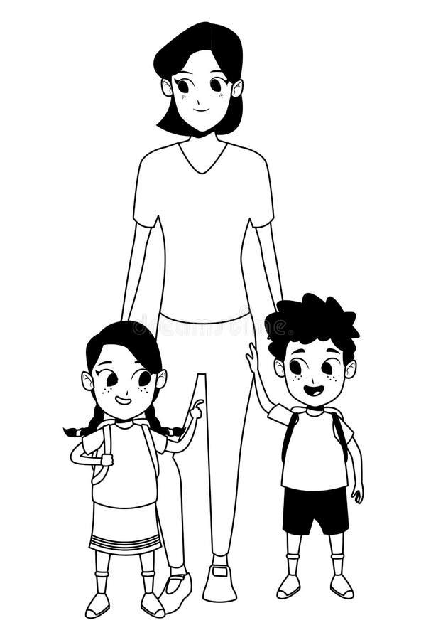 Rodzinna samotna matka z dwa dzieciakami w czarny i biały ilustracji