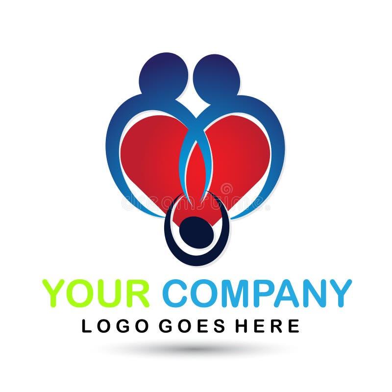 Rodzinna serca i dziecka logo ikona na białym tle ilustracji