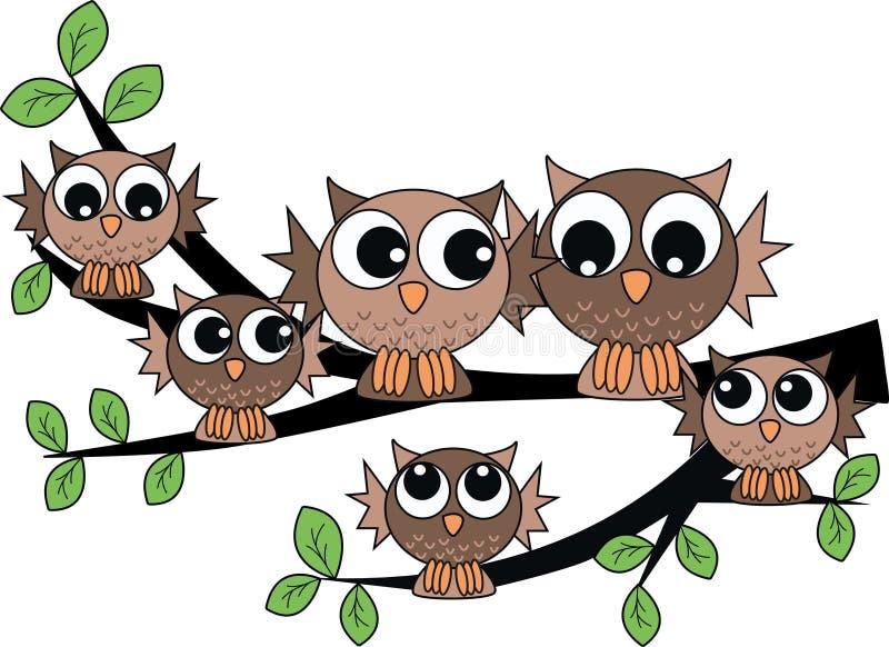 rodzinna sowa ilustracja wektor