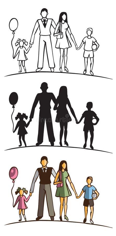 Rodzinna sylwetka na białym tle royalty ilustracja