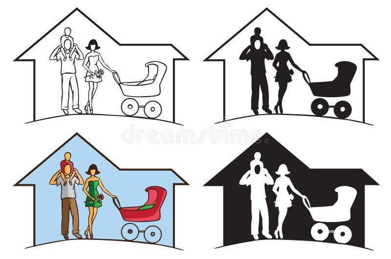 Rodzinna sylwetka w domu ilustracji