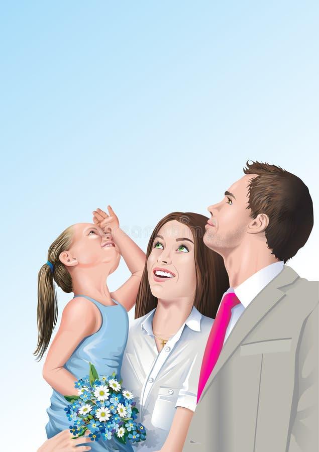 rodzinna szczęśliwa ilustracja royalty ilustracja