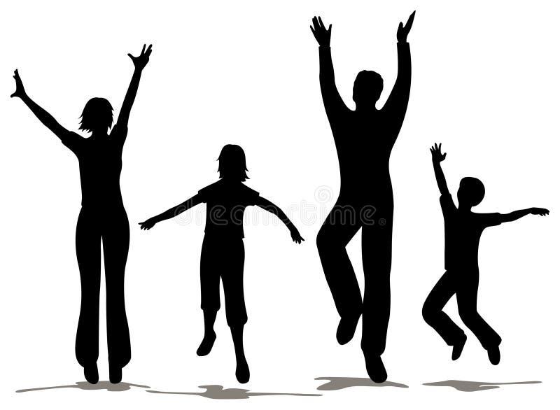 rodzinna szczęśliwa sylwetka royalty ilustracja