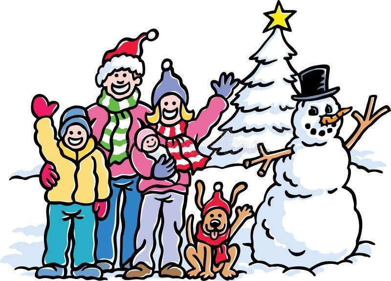 rodzinna wakacyjna zima royalty ilustracja