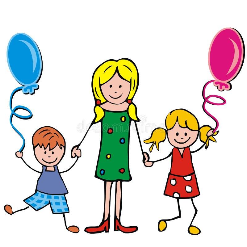 Rodzinna wycieczka, dwa dzieciaka z balonami i matka, śmieszna wektorowa ilustracja ilustracji