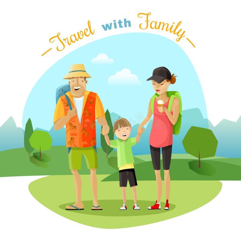 Rodzinna wycieczki ilustracja ilustracja wektor