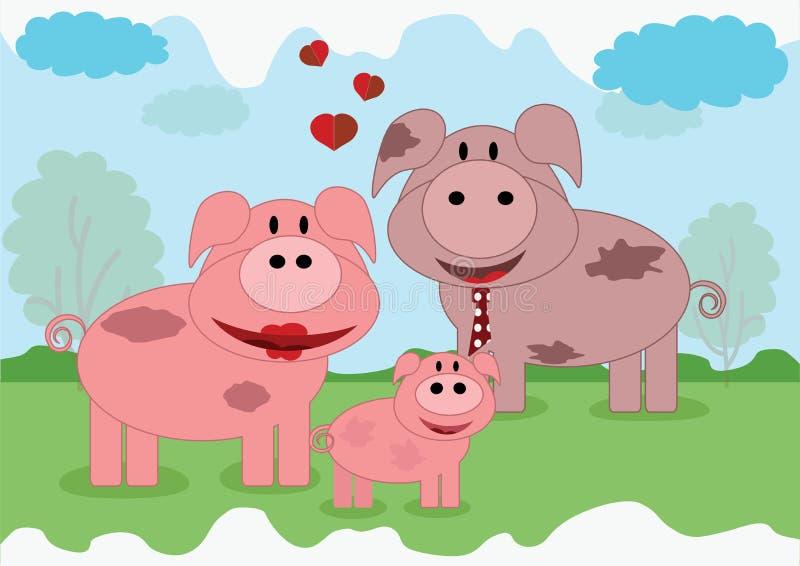 rodzinne świnie ilustracji